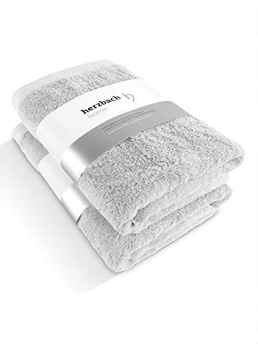herzbach home Luxus Handtuch Duschtuch 2er-Set hohe Qualität aus 100prozent ägyptischer Baumwolle 70 x 140 cm 600 g/m² (Silbergrau)