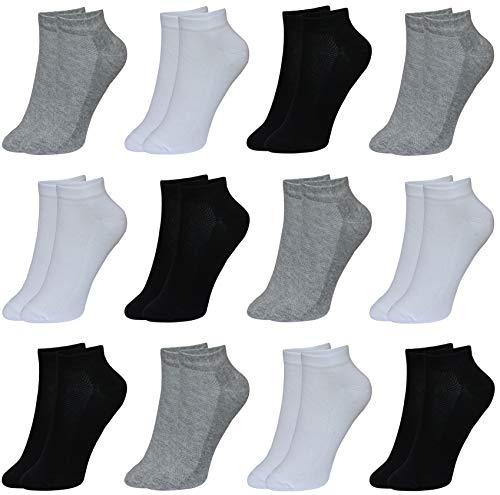 LOREZA ® 12 Paar Kinder Jungen Mädchen UNI Baumwolle Socken Kindersocken (29-32, Modell 1)