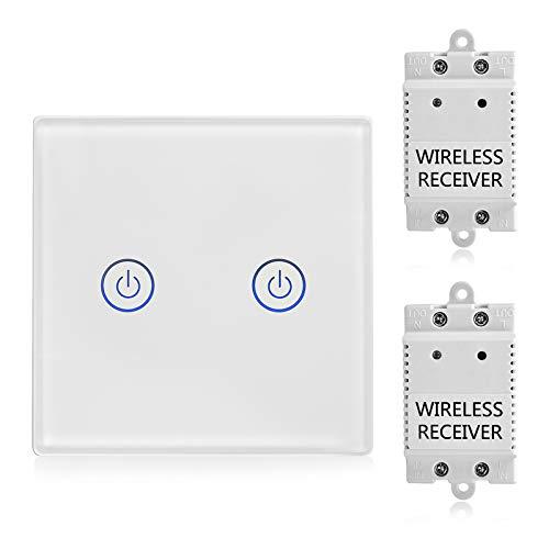 2-Wege Touch Funk Schalter mit Empfänger Kit - Wireless Lichtschalter Funkschalter - Fernbedienung Multi-Einheit Lampen - Crystal Glasscheibe Touch Lichtschalter - Standard Panelgröße 8.6*8.6cm