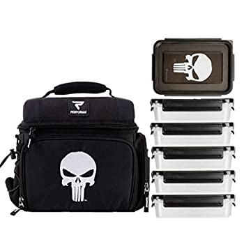 Performa Meal Prep Matrix 6 Meal Cooler Bag - Organized and Insulated 6 Lunch Prep Bag with Two Ice Packs and Shoulder Strap to Accommodate Your Daily Meal Prepping  Punisher