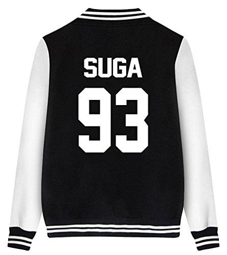 ShallGood Las Mujeres Moda Nuevas Casuales BTS Fans Universitario Chaqueta Sudadera Baseball Abrigos Jacket Outerwear Tops Blazer Motocicleta SUGA-93 Negro ES 38