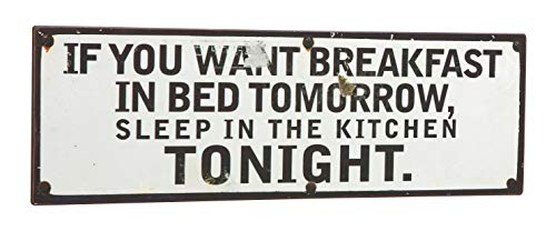 CREOFANT zeer hoogwaardig nostalgie metalen bord ca 39 x 13 cm If You Want Breakfast in Bed.