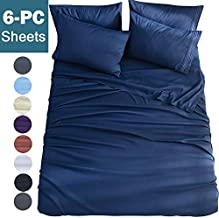 Shilucheng California King 6-Piece Bed Sheets Set Microfiber 1800 Thread Count Percale 16 Inch Deep Pockets Super Soft and Comforterble Wrinkle Fade and Hypoallergenic(California King,Navy Blue)