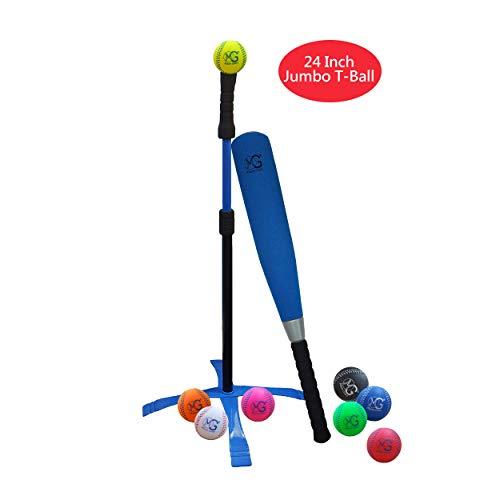 Macro Giant 24 Inch Jumbo T Ball, Tee Ball, T-Ball Set, 1 Blue Jumbo Foam Bat, 8 Foam Baseballs, Assorted Colors, Training Practice, Youth Batting Trainer, School Playground, Kid Toy