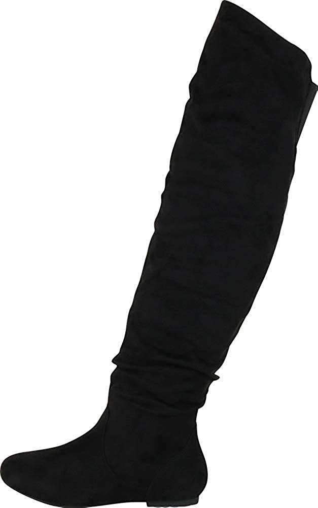 Nature Breeze Vickie-41Th Women's Stretchy Thigh High Flat Heel Boot Half Size Small