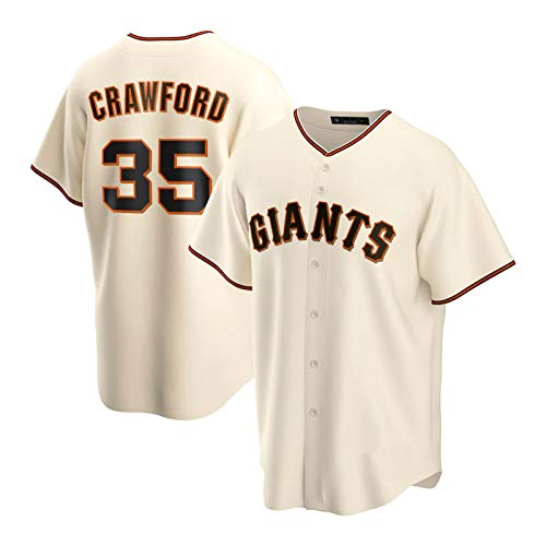 Crawford Herren Jersey, 35 Giants Baseball-Trikots-Fan-Version Casual Persönlichkeit Sport Uniform Hemd Button Cardigan Shirt (S-3XL) Beige-M