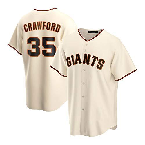 Crawford Herren Jersey, 35 Giants Baseball-Trikots-Fan-Version Casual Persönlichkeit Sport Uniform Hemd Button Cardigan Shirt (S-3XL) Beige-2XL