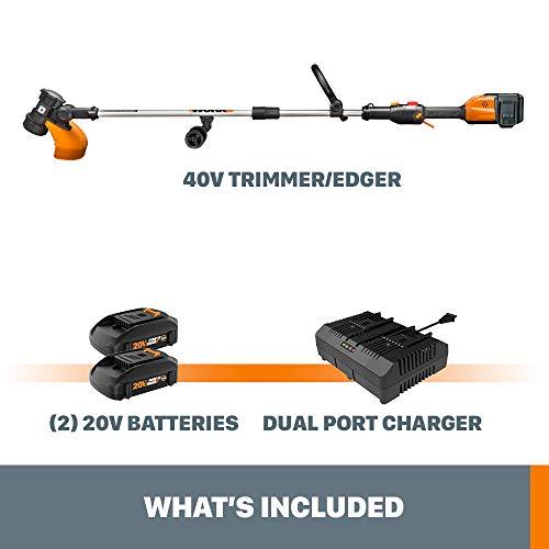 """WORX WG184 40V Power Share 13"""" Cordless String Trimmer & Wheeled Edger (2x20V Batteries)"""