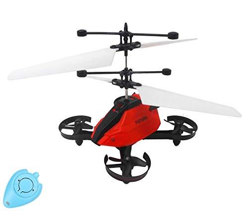 Future X Drohne Quadrocopter Hubschrauber mit Sensorsteuerung (Rot) Einfach zu Steuern per Handbewegung Gestiksteuerung Inklusive IR Fernbedienung Drone Helicopter Quadcopter Drohne für Kinder