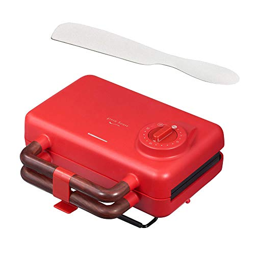 [セット品]グリーンハウスホットサンドメーカーGH-HOTSB-RDレッド平面プレート・ホットサンドプレート付属水洗い可能+熱伝導バターナイフ