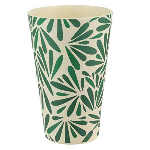 Les Trésors De Lily [Q7759 - Gobelet Verre Bambou 'Jungle' Vert Beige - 13x8 cm (435 ML)