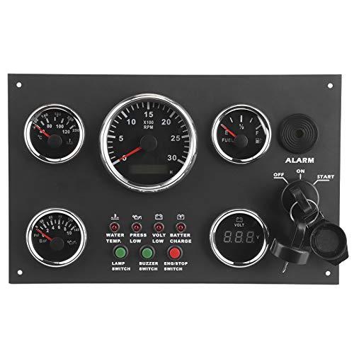 Grupo de indicadores Kit automotriz multifunción 12V / 24V Nivel de presión de aceite Temperatura de agua Pantalla de voltaje con llaves de encendido para yates RVs,