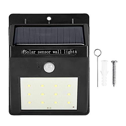 LED-buitenverlichting op zonne-energie, 12LED-verlichting Wandlamp met bewegingssensor, IP65 Waterdichte, eenvoudig te installeren beveiligingsverlichting voor voordeur, tuin, garage, terras, terrasse