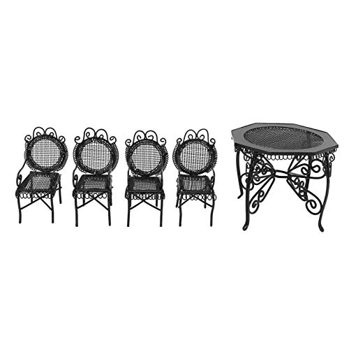Doll House Garden Furniture, 5pcs 1:12 Mini Table Chair Outdoor Garden Scene Table Chair Set Accessories for Play Houses(Black)