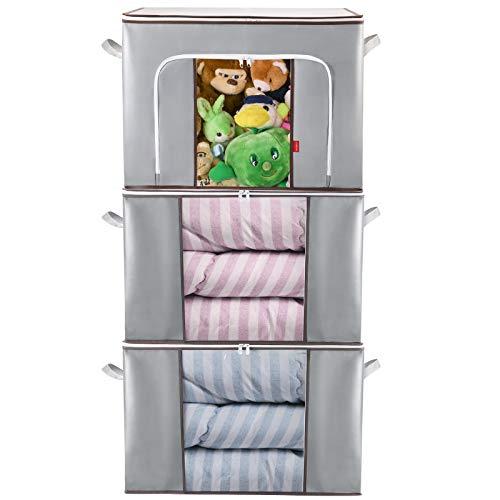 Lekesky 90L Aufbewahrungstasche Groß Kleideraufbewahrung für Bettdecken und Kissen, 3 Stück3 Stück, 60 x 43 x 35 cm