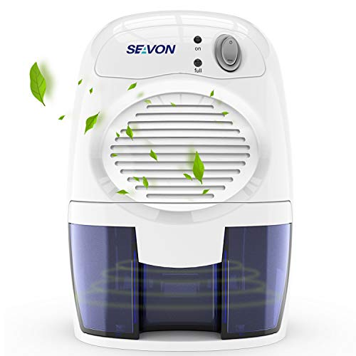 SEAVON New Electric 2020 Mini Dehumidifier, 1500 Cubic Feet (170 sq ft) Portable and Compact 500ml (16 oz) Capacity Quiet Mini Dehumidifiers for Basement, Bedroom, Bathroom, RV, Closet, Auto Shut Off