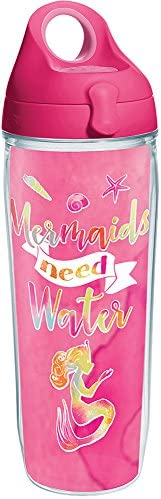 Tervis Mermaids Need Water Tumbler with Wrap and Passion Pink Lid 24oz Water Bottle Clear product image