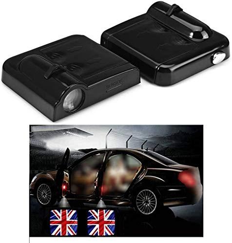 NewL 2x Wireless Projektor Autotür Schritt mit freundlicher Genehmigung Welcome Lights Puddle Ghost Shadow LED-Leuchten (britische Flagge)