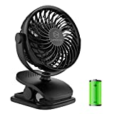 Battery Operated Clip on Fan and Desk Fan 2 in 1, Rechargeable Battery Fan Portable Baby Stroller Fan, USB or Battery Powered, Small Personal Fan for Camping, Tent, Car, Dorm and Outdoor Activity