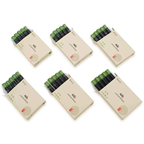 JINHAO - Juego de 30 cartuchos de tinta para pluma estilográfica Jinhao y Baoer de tamaño estándar, color Bambú verde.