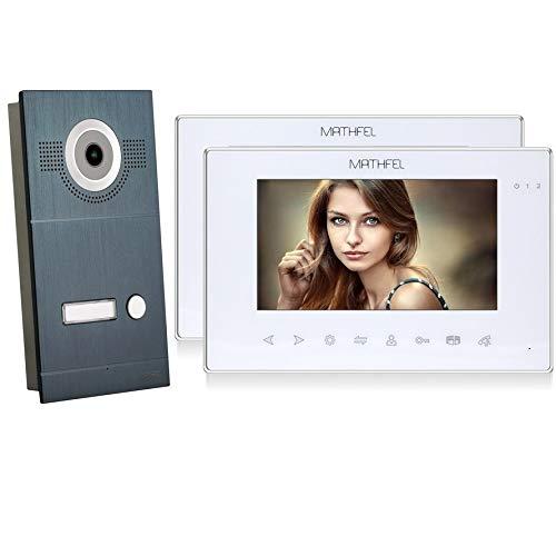2 Draht Video Türsprechanlage Gegensprechanlage Fischaugenkamera 170 Grad, Anthrazit Außenstation, 2x7'' Monitor in weiß
