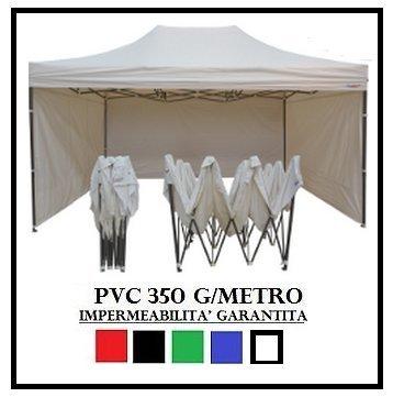 RAY BOT Gazebo Pieghevole 3X4.5 Bianco Acciaio + 4 Teli Laterali PVC 350 g Metro