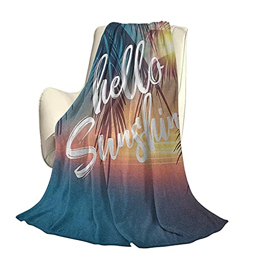 Hello Sunshine, Moderno y Elegante, Colcha para Todas Las Estaciones, futón, Playa Tropical de ensueño con Puesta de Sol Abstracta y Palmeras, Romance de Verano, Cuatro Estaciones, luz para