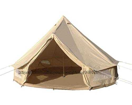 ZWQ Outdoor 4M Cotton Canvas Bell Tent With Stove Hole For 3-5 Persons,4m cotton bell tent