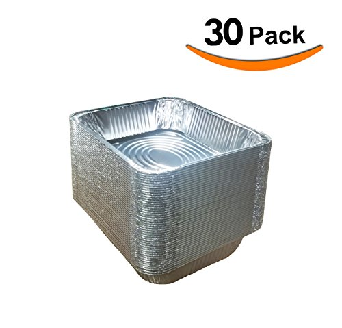 "Smart Choice Extra heavy Disposable Aluminum foil pans, (30 Pack) 9x13 pans, half size deep, 12.75"" x 10.5"" x 2.75"", Baking, Roasting, Chafing, Serving pans"