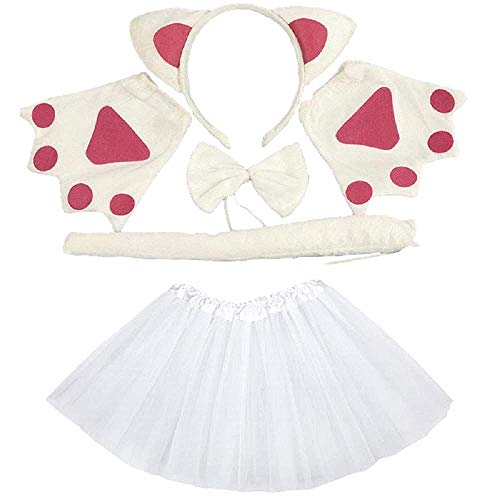 Disfraz de gato - gato blanco - niña - tutú - diadema - guantes - pajarita - cola - disfraces para niños - accesorios - halloween - carnaval - blanco - idea de regalo original papillon cosplay