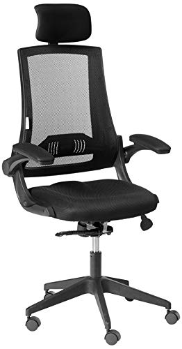 LCH High Back Mesh Office Chair - Adjustable Tilt Angle, Flip-Up Arms, Lumbar Support and Headrest Computer Desk Task Chair, Black