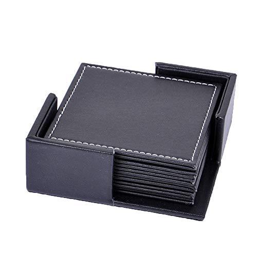 Posavasos Famibay Cuadrados Elegantes PU Leather Posavasos con Soporte Juego de 6 Negros Posavasos Coasters para Oficina Hogar 10*10cm