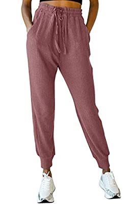 MIROL Women's Active Drawstring Joggers Pants Elastic Waist Waffle Knit Trousers Athletic Solid Color Sweatpants with Pockets (Small, Wine)