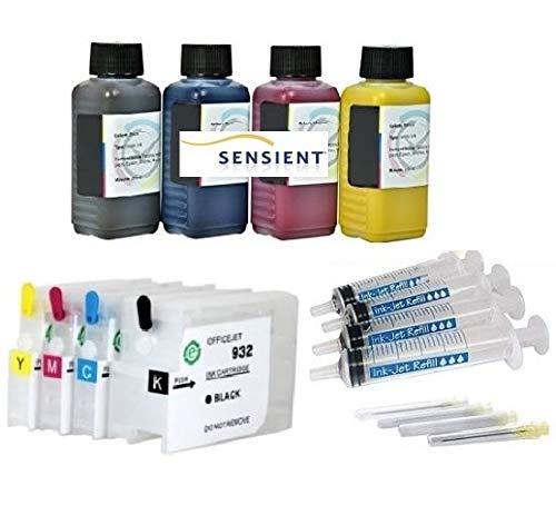 Navulbare Quickfill Fill-in Easy Refill cartridges HP 932 + 933 met Auto Reset Chips + 400 ml SENSIENT Premium Refill-inkt zwart, cyaan, magenta, geel
