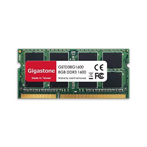 Gigastone DDR3 8GB 1600MHz PC3-12800 CL11 1.35V UDIMM 204 Pin sin búfer sin ECC Portátil Módulo de Memoria Actualización de Ram
