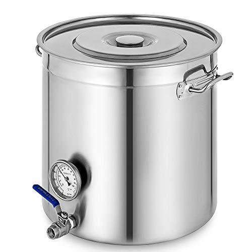 OUKANING Olla de Acero Inoxidable de 98L Utensilios de Cocina Olla de Cocina Olla de Sopa con Termómetro y Grifo para Gastronomía Estofado de Caldera, Elaboración de Cerveza, Almacenamiento