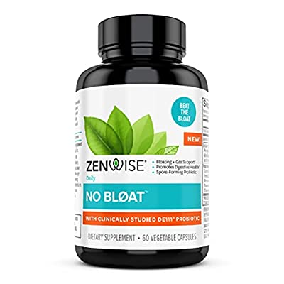 Zenwise No Bloat Supplement with Probiotics, Turmeric, and Digestive Enzymes - Bloating and Gas Relief - Ginger, Dandelion, and Cinnamon to Improve Digestion for Women & Men - Vegan Formula - 60 Count