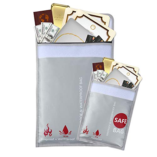 GEMEK Bolsa para documentos ignífuga de 15 x 11 y 9 x 7 pulgadas, juego de bolsa resistente al fuego con revestimiento de silicona, almacenamiento seguro para dinero, documentos, joyas y pasaporte