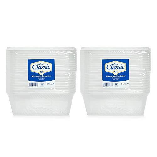 Lot de 20 boîtes alimentaires en plastique avec couvercles - Résistantes - Transparentes - 750 ml