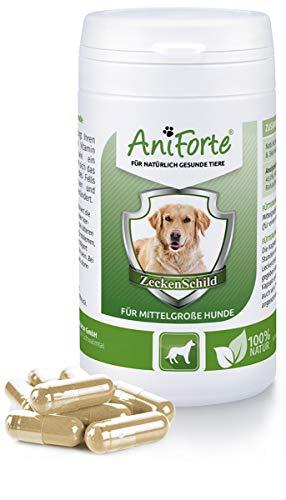 AniForte Pastillas AntiGarrapatas para Perros Medianos. Entre 10 y 35 kg. 60 cápsulas. Producto 100% Natural. Complejo de Vitamina B que Actúa como Escudo Anti Garrapatas.
