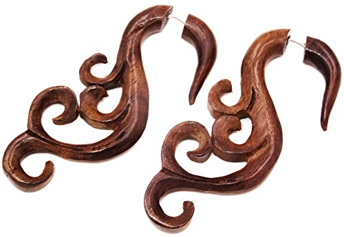 Falso Dilatador Pendientes Piercing madera par marrón hombre mujer mixta étnica Gauge Expander Wood Wooden Fake espiral