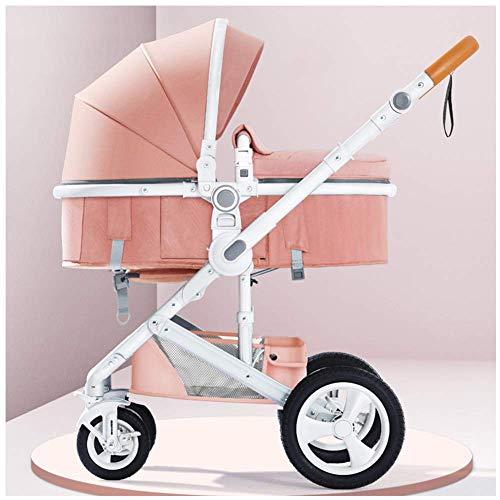 MNBV Sistema de Viaje Carrito de bebé de Paisaje Alto Que Puede Sentarse y acostarse Doblar de Dos vías Cuatro Rondas Amortiguación del Carrito de bebé de 0-3 años, B