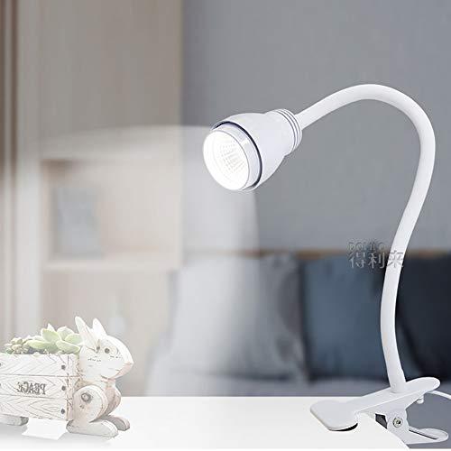 DUANJ lampara Pinza Clip de luz de Lectura Book Light Clip Luz de Lectura COB Clip en la lámpara -con Cuello Flexible y Cable de alimentación USB -para cabecera,computadora,Escritorio(Blanco)
