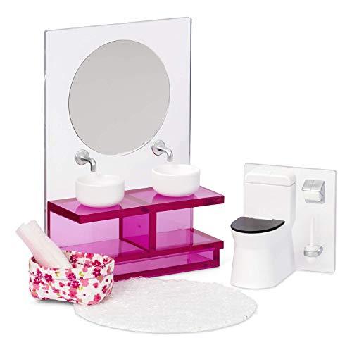 Lundby 60-306100 - Badezimmermöbel Puppenhaus - Möbelset 5-teilig - Puppenhauszubehör - Möbel - Waschbecken - Toilette - WC - Badmöbel - Zubehör - ab 4 Jahre - 11 cm Puppen - Minipuppen 1:18