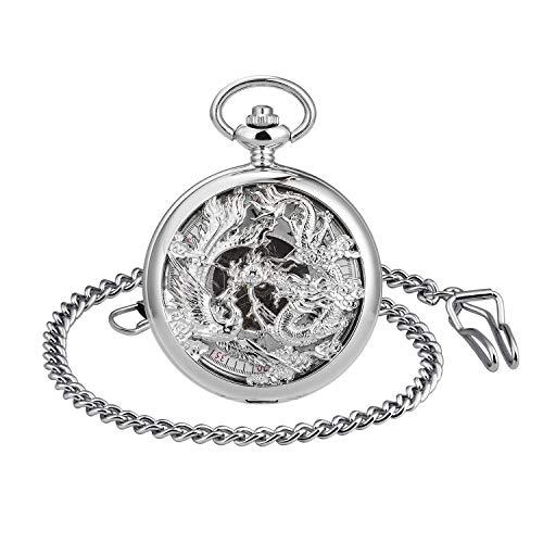 MICGIGI - Reloj de bolsillo unisex con cadena, analógico, cuerda manual, retro, dragón, fénix, hueco, relojes de bolsillo mecánicos, color plateado.
