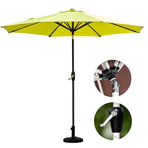 Baibao 2,7 m (9 pies) Jardín con manivela de altura regulable de inclinación, protección solar exterior paraguas para playa/piscina/terraza/café – sin base