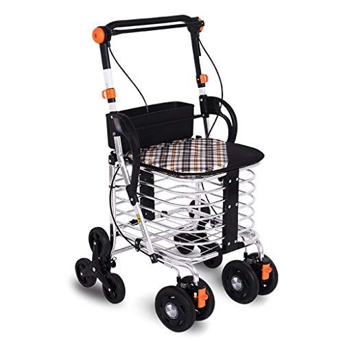 ShenZuYangShop Winkelwagen aluminium legering inklapbare draagbare trolley walker rollator verstelbare oude man het kopen van groenten met wielen stoel kan naar boven winkelwagen