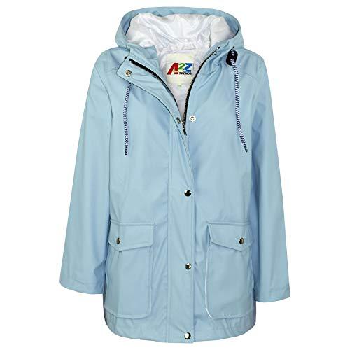 A2Z 4 Kids® Kinder Mädchen Jungen PU Regen Mantel Jacken Windbreaker - PU Raincoat 497 Dusty Blue 13