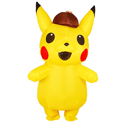 RenKeAi Erwachsene Kinder Aufblasbare Pikachu Cosplay Halloween Neue Gelbe Pikachu Kostüm Aufblasbare Kostüm für Erwachsene Kinder mit Luftgebläse (Kind 120-140 cm, Erwachsene 160-190 cm)