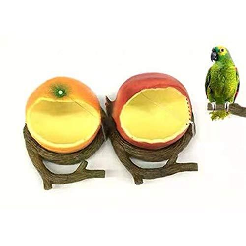 Riveryy Fruchtform Vogelfutterspender Vogelfutterstation Outdoor Bird Füttern Vogelfutterhaus zum Aufhängen Vogelfutterhaus Futterstation Vogelfuttersäule für heimische Vögel(Orange + Rot)